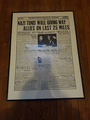 Original Vintage WW2 Framed Newspaper Toronto Daily Star April 1943 (RARE)