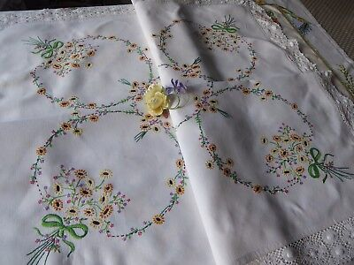 Vintage Hand Embroidered Linen Tablecloth=Lovely Raised Floral Embroidery
