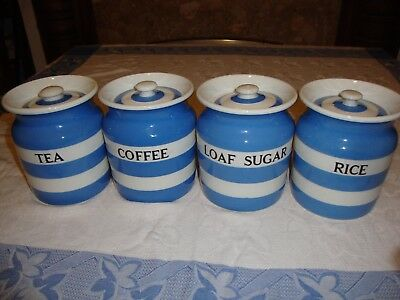 Vintage T.G. Green Cornishware/ blue and white, loaf sugar, rice, tea and coffee