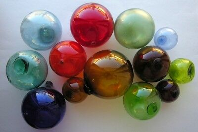 Vintage Lot of 13 Glass Fishing Floats Multi Color
