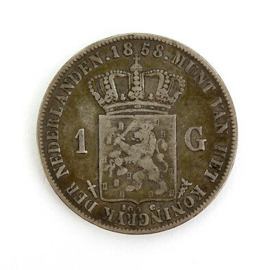 Netherlands - 1858 William III 1 Gulden silver coin