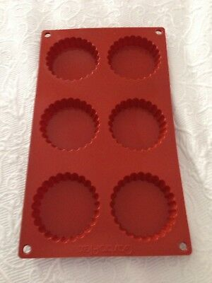 two - lot - Matfer Bourgeat Gastro Flex Fluted Tart Mold, Red