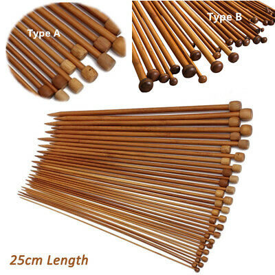 36Pcs/Set 18size Carbonized Smooth Bamboo Single Pointed Knitting Needle 25CM SY