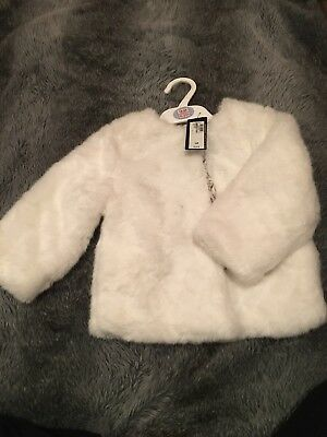 Brand New With Tags Marks And Spencer Baby Girl Faux Fur Coat Ivory Buttoned