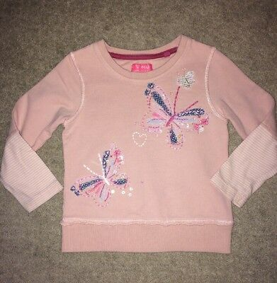 Next Girls 18-24 Months Pink Jumper, Long Sleeved, Butterfly