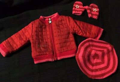 American Girl Place Doll Red Winter Coat Hat and Mittens Set