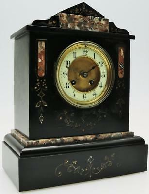 Classical French Slate & Marble Mantel Clock Antique Architectural Mantle Clock