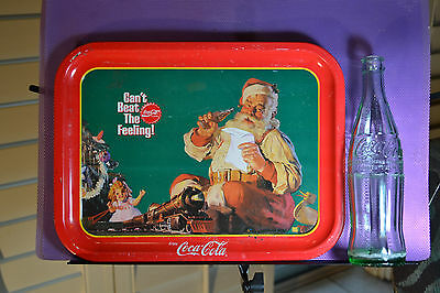 Coca Cola Package1961 12 0Z Bottle& 1988 'can't Beat The Feeling Tray Nice