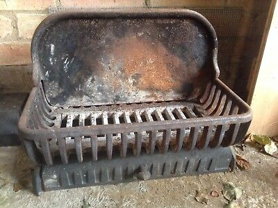 Dog Grate Fire Basket with Fire Back Plate Cast Iron Small