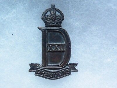 Cap badge 22nd dragoons WW II officiers
