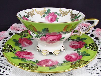 Mitterteich Bavaria Roses Gold Foliage Footed Tea Cup And Saucer