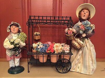 Byers Choice Carolers Flower Cart, Woman, and Child Selling As Set - Beautiful!