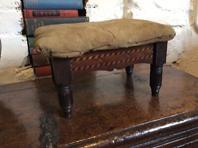 Fantastic Little Inlaid Footstool Chevron Inlay Design To Recover Victorian