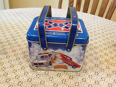 "Rare 1981 Dukes Of Hazzards General Lee Collector Handled Tin 6""x5""x4.5"" Tall"