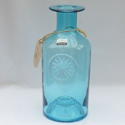 Vintage, Dartington Glass, Flower Bottle, Blue, Hand Blown, Hilary Green, 10""