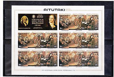 Aitutaki 1976 Bicentenary American Rev set 3 Sheetlets IMPERF Final Color VF MNH