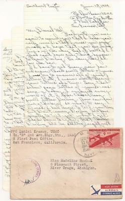 WWII Letter, U.S. Marine Corps. Guadalcanal 1943. Also fought at Iwo Jima, Guam