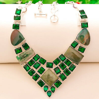 """Blood Stone Gemstone 925 Sterling Silver Bohemain Necklace 16-18"""""""
