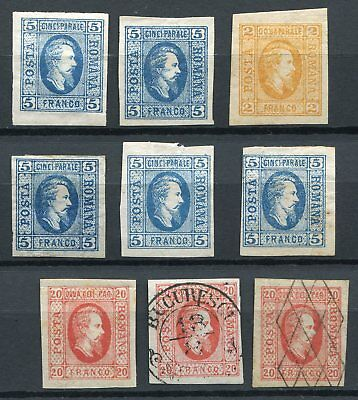 Romania 1865 -   Selection with varieties/shades/types MH/canc.