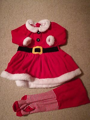 Baby girl Christmas Santa/Mrs Claus fancy dress with tights size 12-18 months