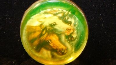 Rare Vaseline Glass Pony Size Horse Bridle Rosette With Thick Glass Flat Top