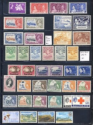 Basutoland mnh and mlh stamp collection on 1 1/2 pages with values up to 20.00