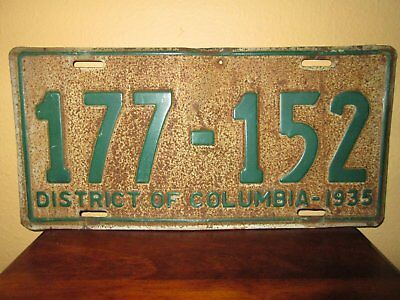 "Vintage License Palte ""washington Dc "" 1935"