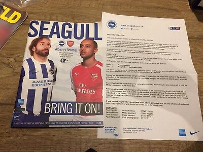 Brighton And Hove Albion V Arsenal- January 2015- Official Programme