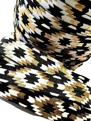 "10 yard White black & gold metallic tribal Aztec print /8"" fold over elastic FOE"