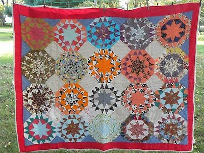 "Vintage Hand Stitched Quilt 62"" x 75"" Red Multi-Colored Light Wear"