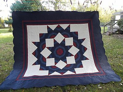 "Vintage Hand Stitched Quilt 113"" x 105""  Navy Blue Quilt Beautiful Example"