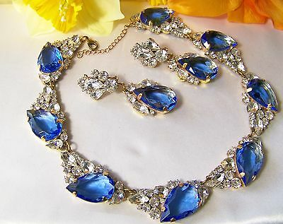 CZECH Chunky Open Back Pear Shape Rhinestone & Glass Blue Collar & Ear Clip Set