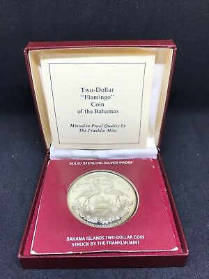 """1972 Bahama Islands Two Dollar """"Flamingo"""" Coin Sterling Silver Proof"""