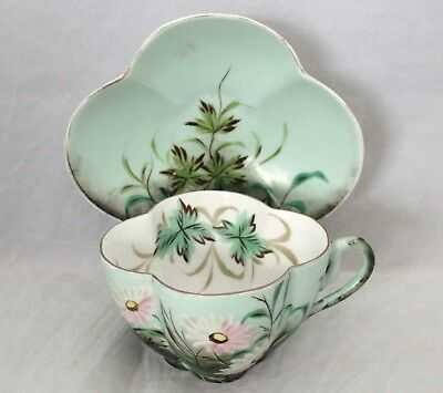 Large Clover Shaped Cup & Saucer - Erdmann Schlegelmilch Germany - Circa 1861