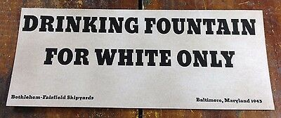 Black Americana Drinking Fountain For White Only Shipyard Baltimore MD Maryland