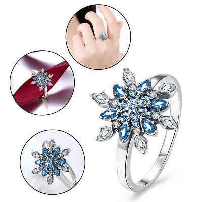 925 Sterling Silver Snowflake Silver Tone Cubic Zirconia Promised Ring Presents