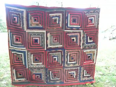 "Vintage Hand Stitched Quilt 73""x 68"" Red Multi Pattern"