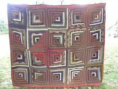 """Vintage Hand Stitched Quilt 75""""x 67"""" Diamond multi Colored Pattern"""