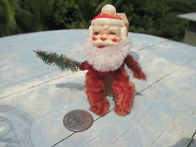 Tiny Bedraggled Vintage Celluloid Santa Chenille Pipe Cleaners Body Needs Home