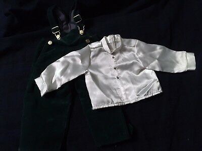 American Girl Doll Pleasant Company Holiday Green Velour Overalls Outfit