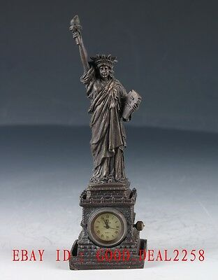 Vintage Brass Hand Made Statue of Liberty Mechanical Globe Clock   ZJ29