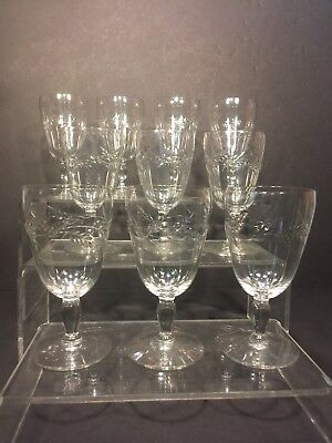 Vintage Set of 10 Cut Wheat Crystal Wine Glasses - 5""