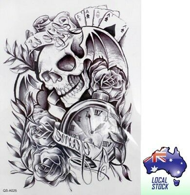 Temporary Tattoo - Skull & Roses - Fake Tattoo