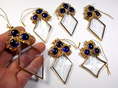 6 Hand Made Christmas Tree Ornament 24K Gold Plated Crystal Glass /Cobalt Blue