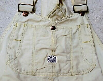 Vtg Penneys PAY DAY Union Made White denim Overalls Painters Workwear Carpenter