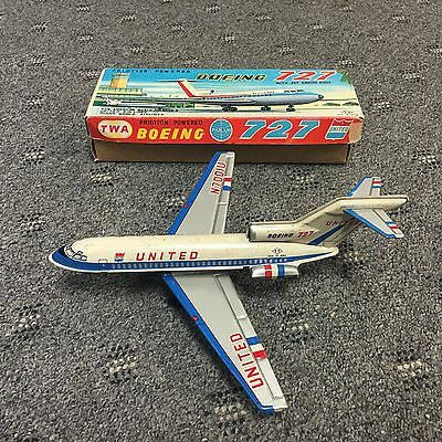 Friction Powered Boeing 727 United Airplane Made in Japan by T.T. #N700IU w/Box!