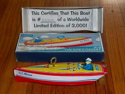 Tin Toy - JOHNSON WIND-UP SPEEDBOAT - IN BOX - LIMITED EDITION - WORKS PERFECTLY