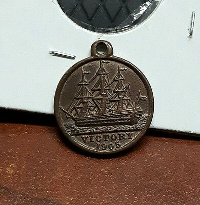 1905 HMS Victory Medalet - Rarer Port Side Type. BFSS - Copper from Ship's Hull.