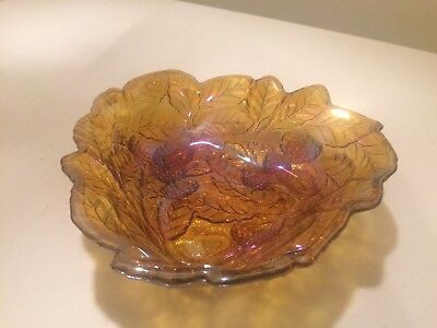 Amber Carnival Glass Bowl