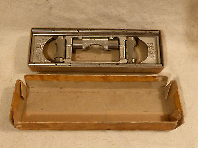 "Fine 6"" Nickle Plated Stanley 37 G Level In Orig Box - Grooved Bottom For Pipe"